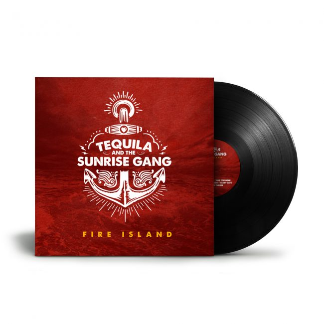 "Tequila & the Sunrise Gang - ""Fire Island"" LP Cover"