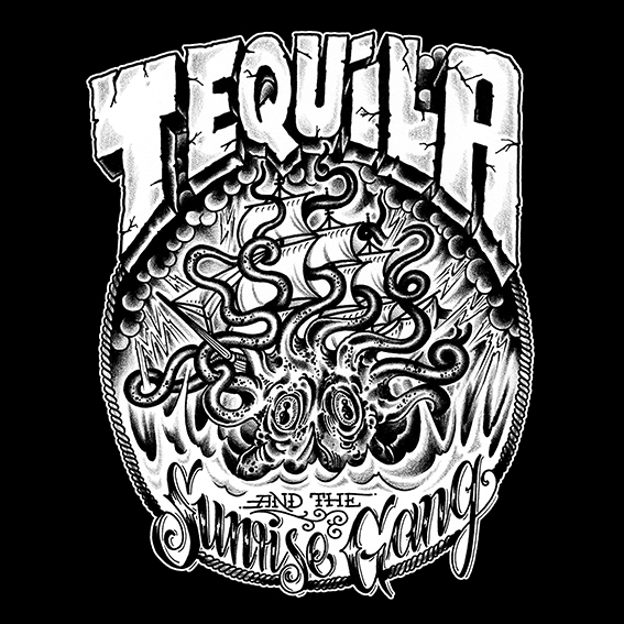 "Tequila & the Sunrise Gang - T-Shirt ""KRAKE"" 2"