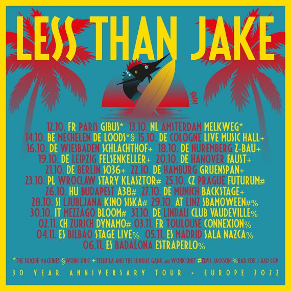 Less Than Jake Tour 2022 Support Tequila and the Sunrise Gang