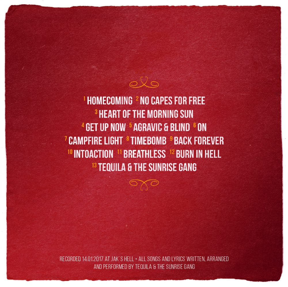 """Tequila & the Sunrise Gang - """"Unplugged"""" Rückseite Back"""